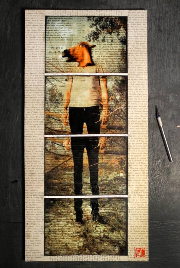 Gaetano De Crecchio | L'uomo Cavallo | Mosaico Lift Off da Carta fotografica su Cartone da imballaggio